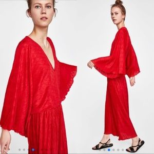 Zara Red Pleated Kimono Maxi Dress Sz L